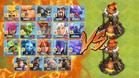 Video - ALL TROOPS vs LEVEL 5 INFERNO TOWER - Clash of Clans