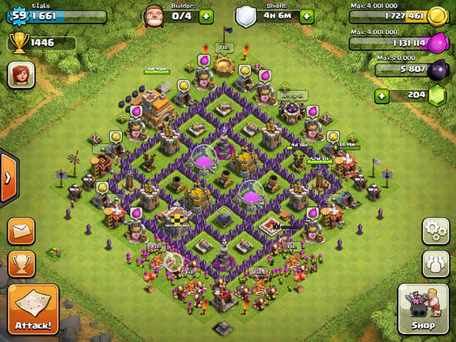 Th7 Home Base Design Part - 38: Nicely Maxed TH7 Base Design.