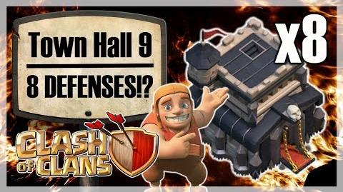 Town Hall 9 with 8 DEFENSES! Clash of Clans (गोत्र संघर्ष)