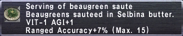 Beaugreen saute with stats