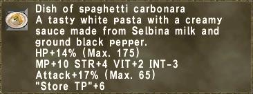 Dish of spaghetti carbonara