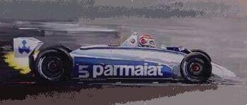 Brabham BT49T, BMW Turbo powered, driver Nelson Piquet 1981, by T. Thompson on Arteauto.com