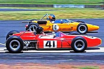 Brabham BT22 1966, Climax engine, Driven by Roger Munns at the Tasman Revival 2008, Eastern Creek, Australia. by Richard Taylor on Wikipedia