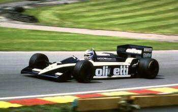 Brabham BT55 driven by Derek Warwick, in Druids Bend at the 1986 British Grand Prix, Brands Hatch, ML