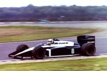Brabham BT56 briven by Andea de Cesaris, in 1987 at the Silverstone circuit, ML