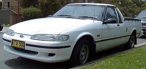 1996–1997 Ford XH Falcon Longreach utility, in Gymea, New South Wales, Australia, by OSX, Wiki