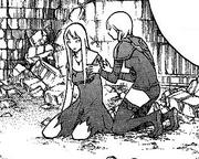 Cynthia ayudando en la regeneración a Galatea