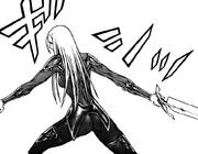 Uma se prepara para lanzar su espada