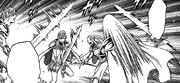 Cassandra luchando contra Audrey, Nina y Rachel