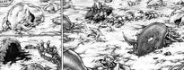 Cadaveri dei risvegliati dell'armata di Easley uccisi da da Alisia cap 63