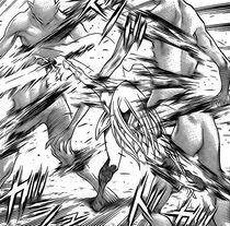 Miata mentre uccide degli Yoma durante l'invasione di Rabona