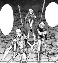 Galatea e Claire che si preparano a combattere prima di Jean cap 47