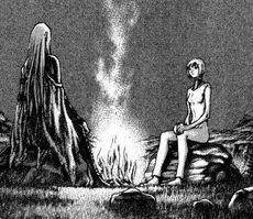 Irene davanti al fuoco e Claire(Claymore Italia Wiki)