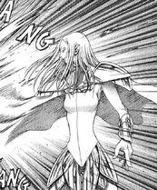 Irene mentre usa la spada fulminea