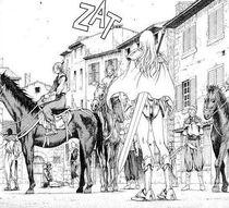 Teresa davanti al capo dei banditi nella città di Rokuto cap 16