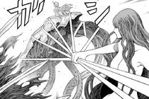 Octavia mentre blocca la Mangia polvere a Cassandra