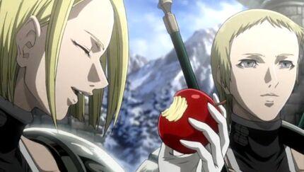 Helen eating apple