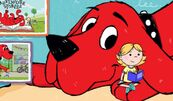 Clifford the Big Red Dog burried in sand