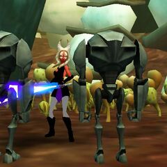 Zadira is surrounded by Super Battle Droids