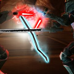 Malek engages in a powerful Force lock with his third clone Phantos.
