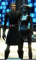 Luke and Aayla talking to the leader