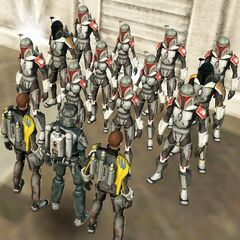 Malek and two commanders speak to a small squad of elite Zeno Mandalorians, prior to the Silent Watch/Mand'alor War