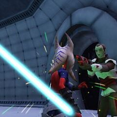 Zadira fights General Ennodius during the early stages of her time on Umbara