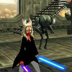 Zadira and Republic Clone Commando Blast fighting droids on Felucia