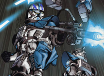 A-13 Ember and his brothers attacking the droids