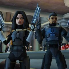 Malek with Lady in the Jedi Temple.