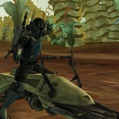 Malek draws his blasters during a droid ambush on Felucia.