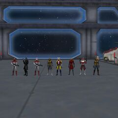 A Squad photo on Lan's Jedi Cruiser, The Hope! To the left Night Lion, Lenn Hatchseeker, Garrett EmeraldStrike, Kit Almighty, Lan Phaseripper, Luke Ploarblazer, Chaz Wolf, and Heero.