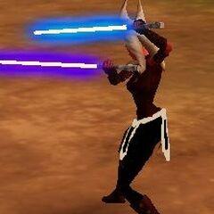 Zadira utilizing her duel blades in battle.