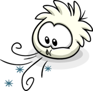 White Puffle Blowing Ice