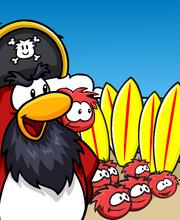 Rockhopper Island - Rockhopper and red puffles