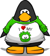 I Heart My Green Puffle T-Shirt PC