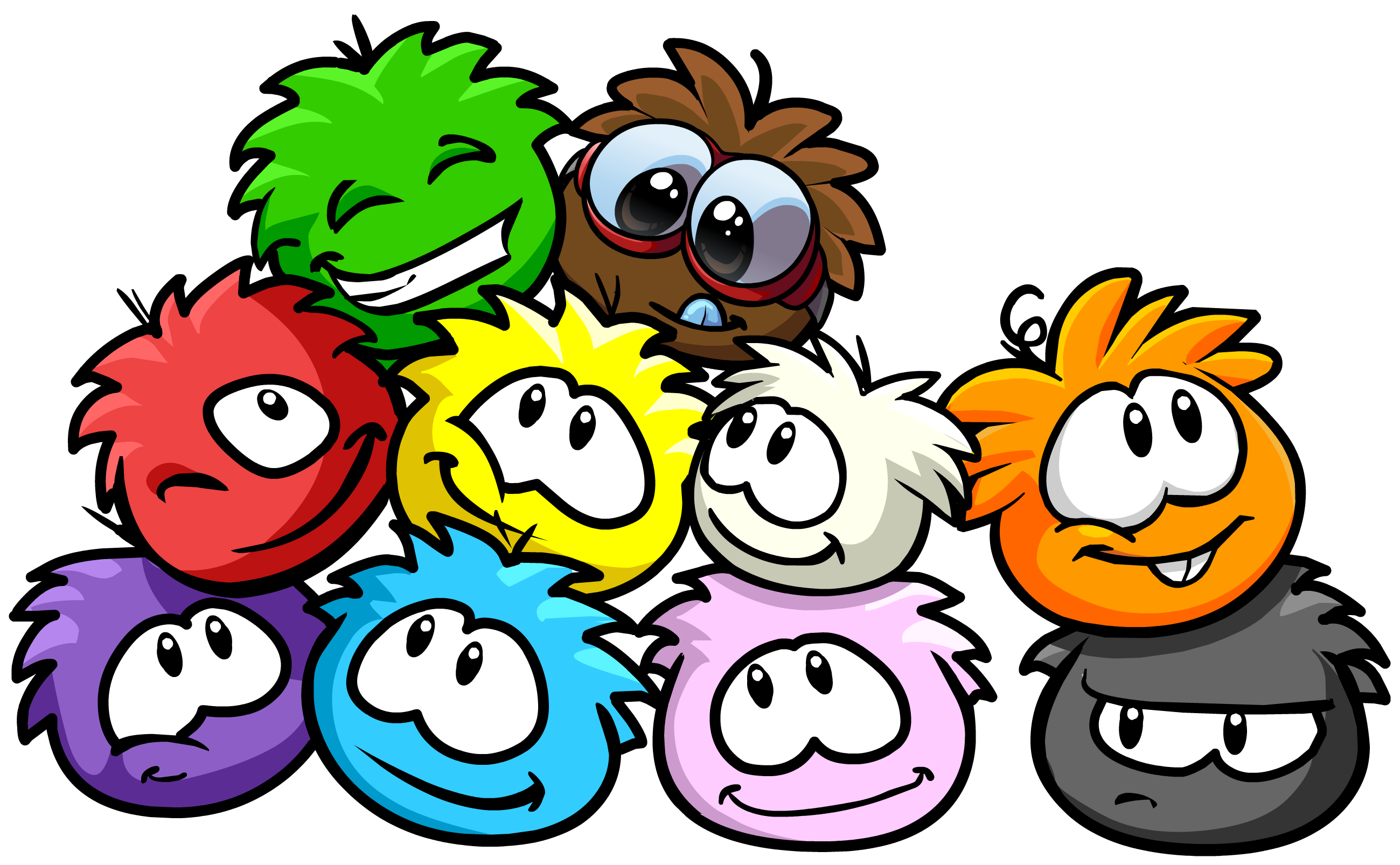A group of Puffles from the online game Club Penguin