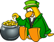 Penguin sitting with Pot O'Gold