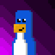 Blue Penguin Purple Stripes