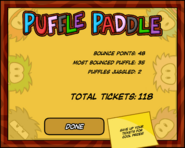 Puffle Paddle End Screen