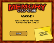 Memory Card Game End Screen