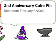 2nd Anniversary Cake Pin SB