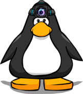 Pinguino con lampara en la cabeza