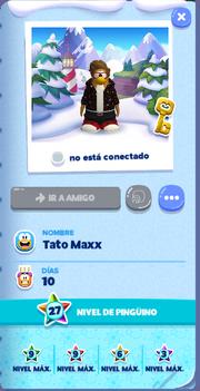Tarjeta de Jugador Tato Maxx Isla de Club Penguin