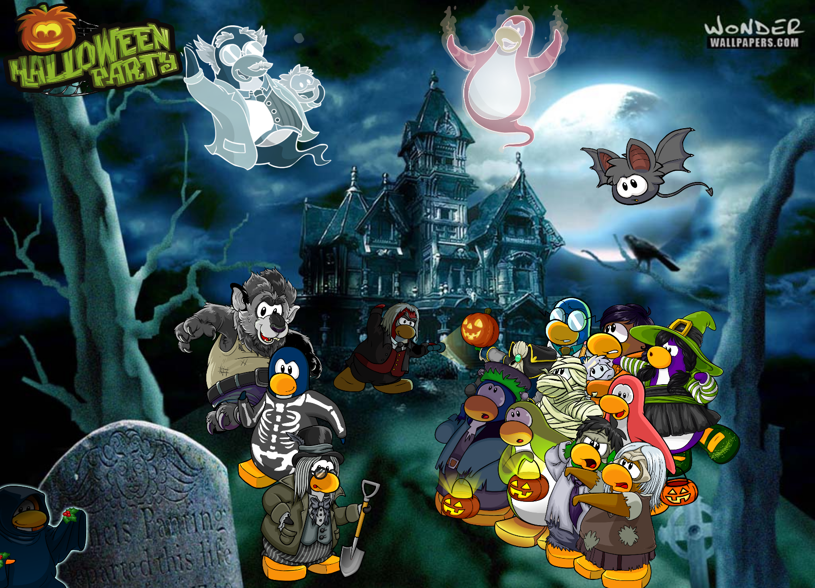 image - halloween party wallpaper | club penguin wiki | fandom