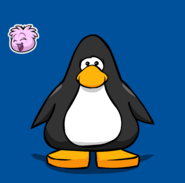 Pink Puffle pin on a Player Card