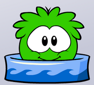 Green puffle bath time