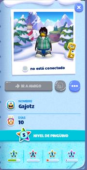 Tarjeta de Jugador Gajotz Isla de Club Penguin
