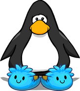 Blue Puffle Slippers on a Player Card