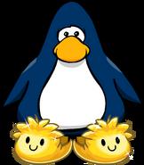 Pantuflas de Puffle Dorado tarjeta